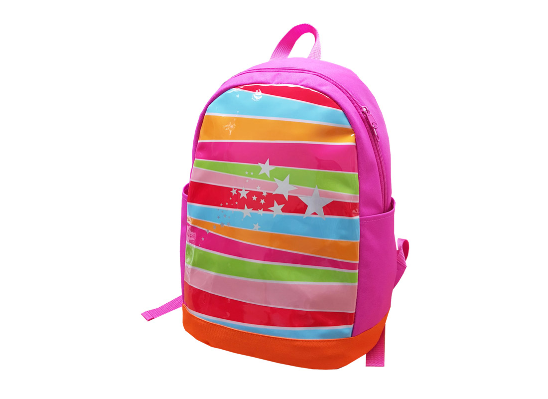 Girl backpack with front rainbow print R side