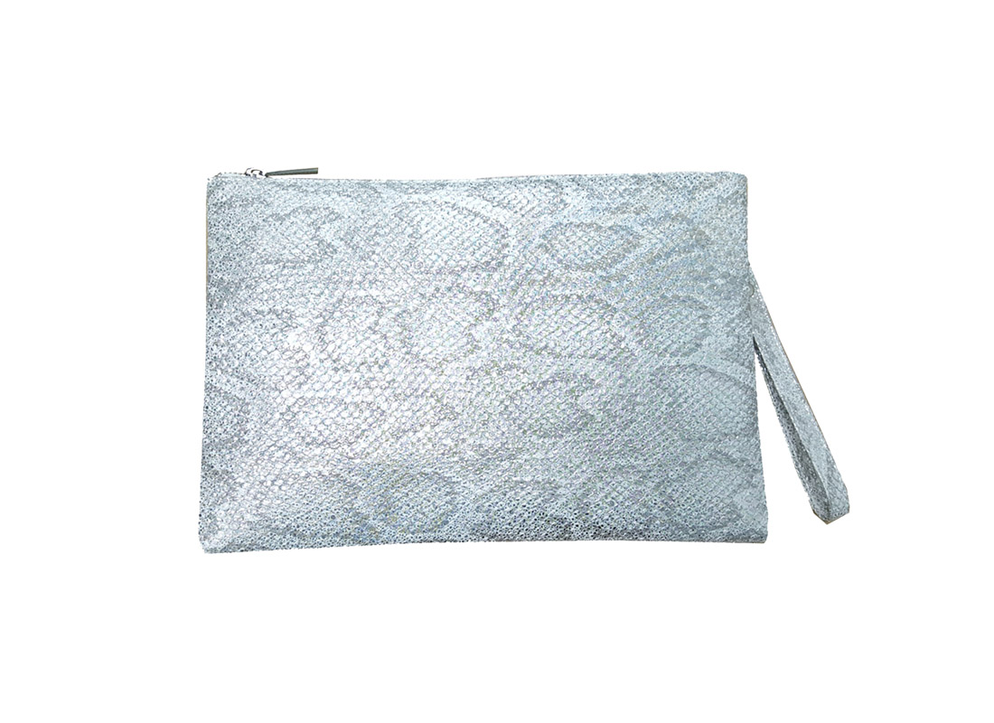 Shiny PU with Snake Skin pattern clutch
