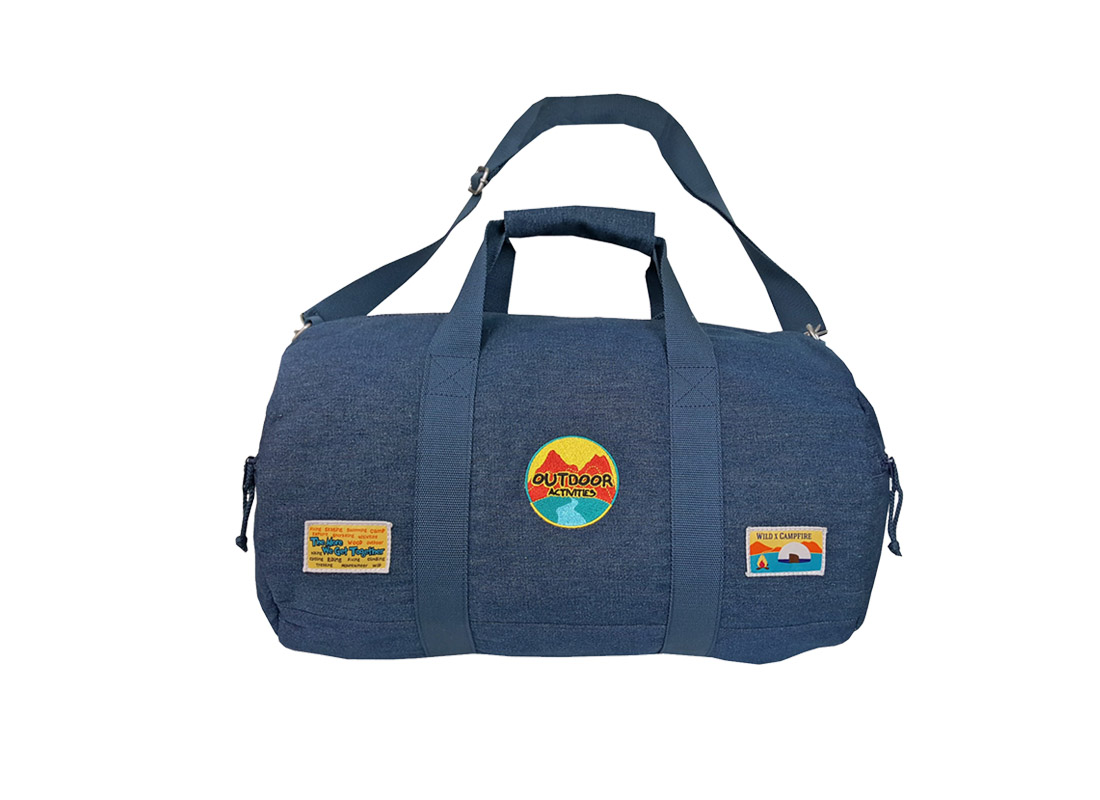 Round Denim Duffel in blue
