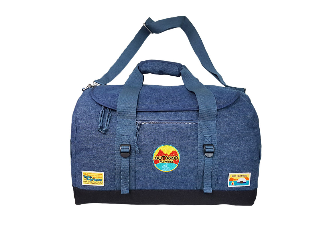 Denim Outdoor Duffel in blue & black