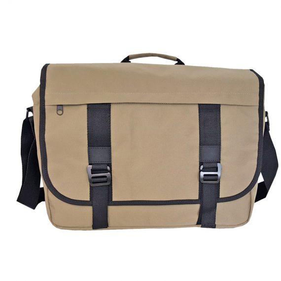 Men messenger bag with flap in sand color