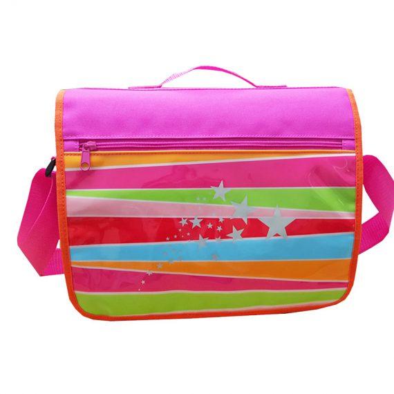 Girl messenger bag with front rainbow printing