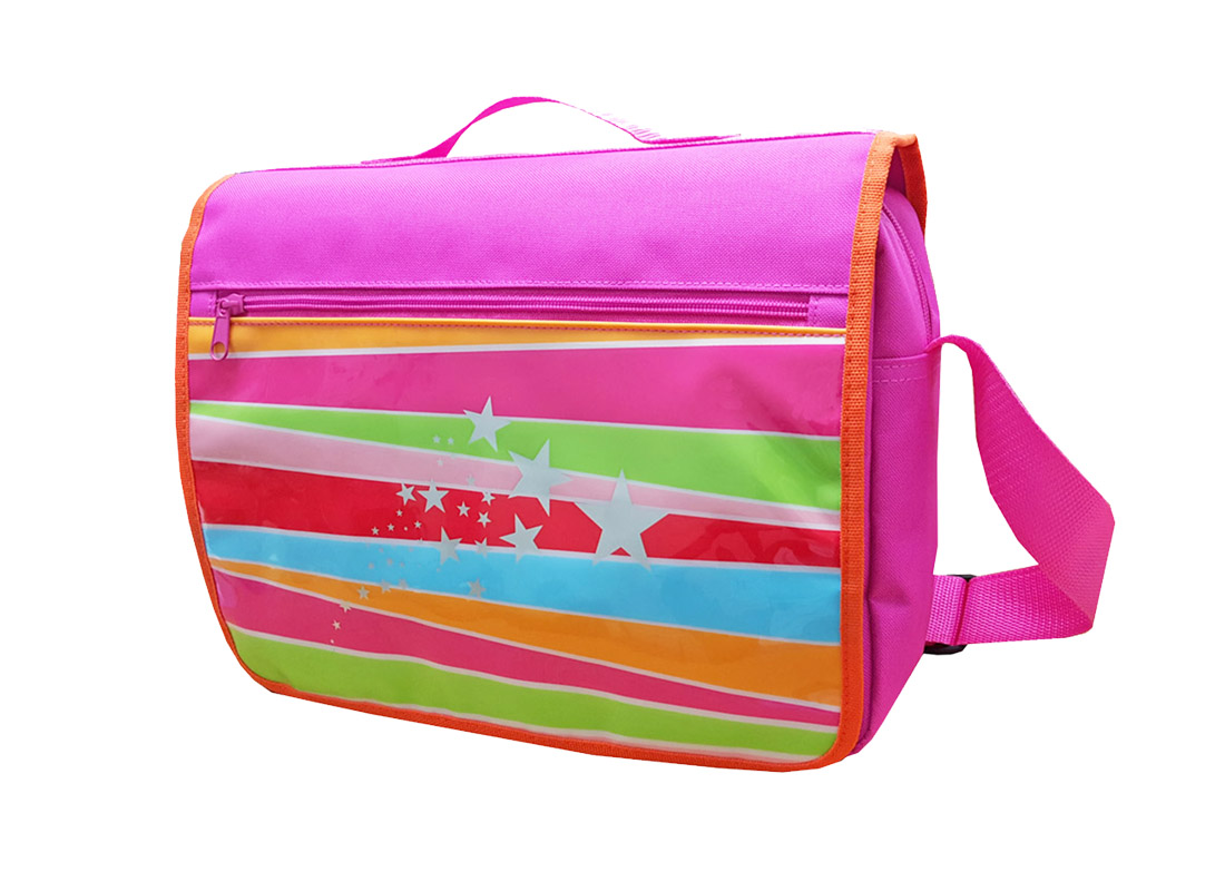 Girl messenger bag with front rainbow printing R side