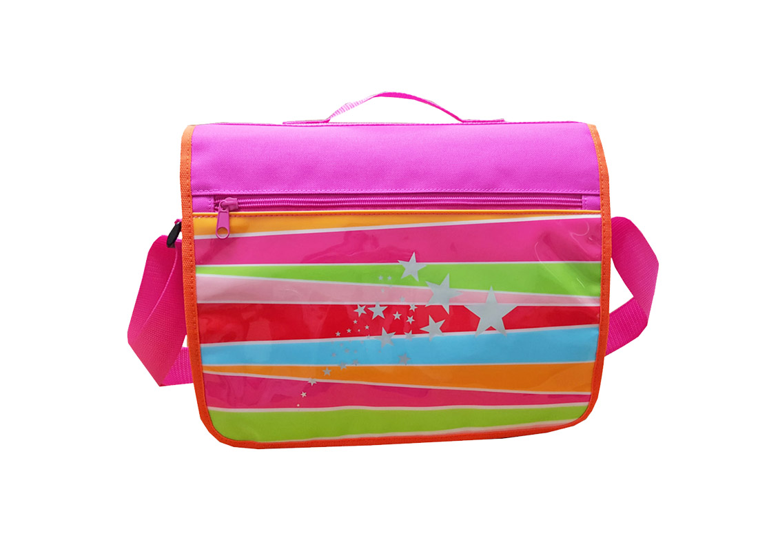 Girl messenger bag with front rainbow printing