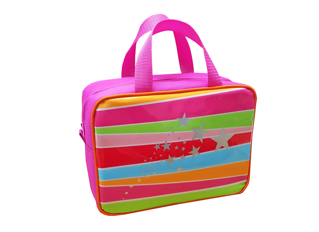 Square Lunch Bag for girl with front rainbow print side