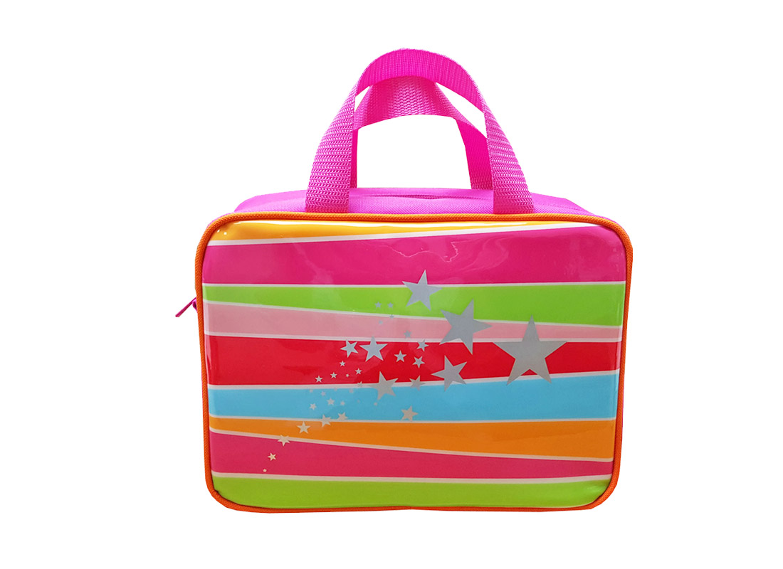 Square Lunch Bag for Girl with front rainbow print