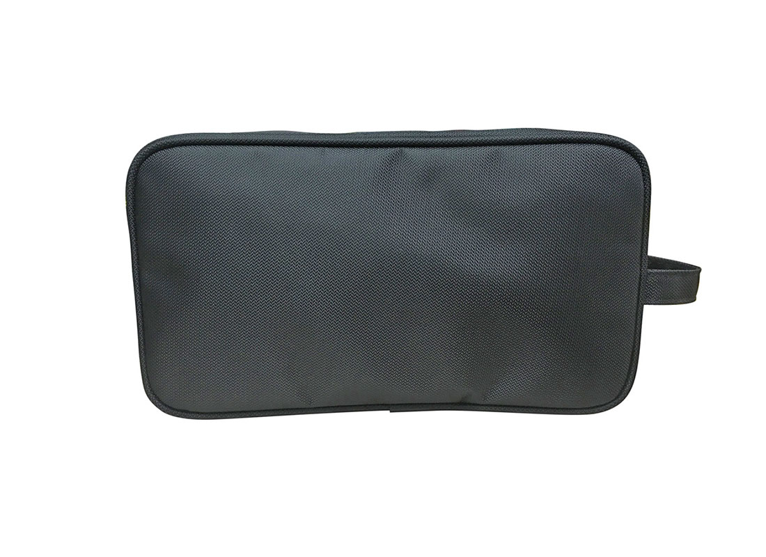 Back of Large two compartment Men Toiletry in black