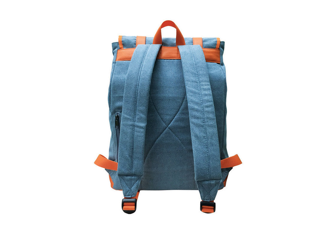 back of backpack with flap in powder blue & orange