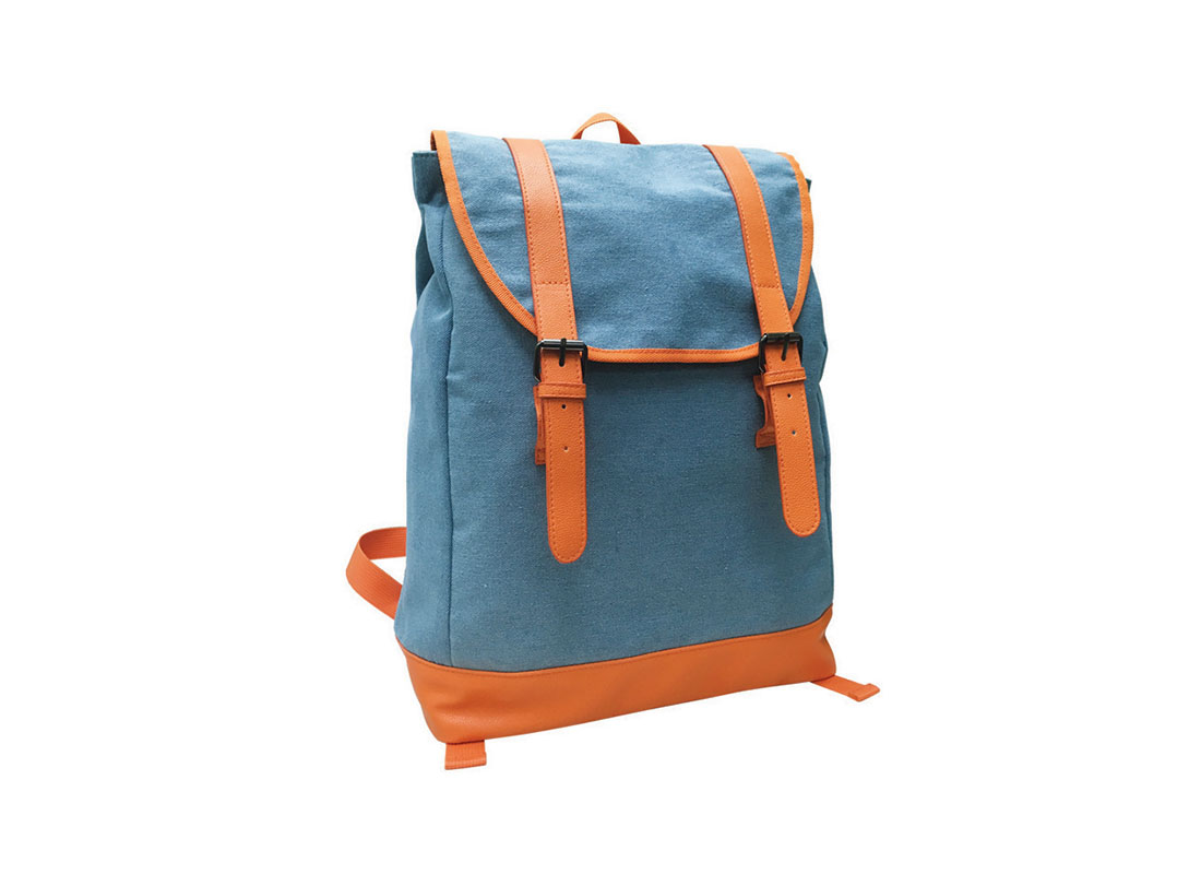 backpack with flap in powder blue & orange L side