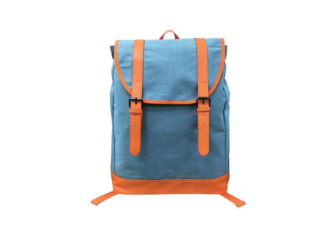 Backpack with flap in powder blue & orange