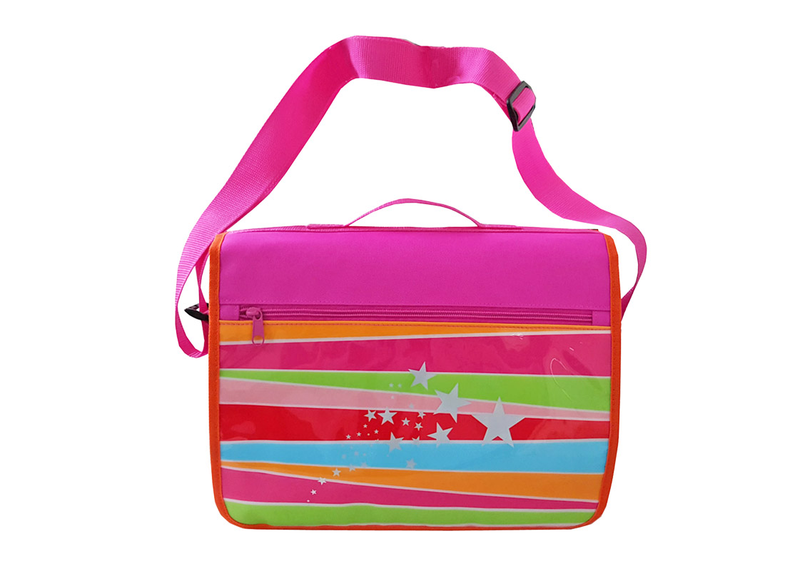 Girl messenger bag with front rainbow printing front