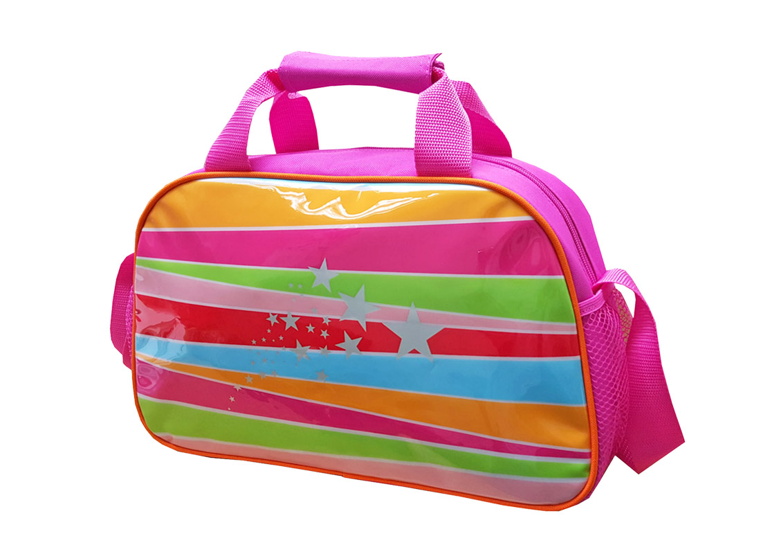 Girl Shoulder Bag with rainbow print at the front R side