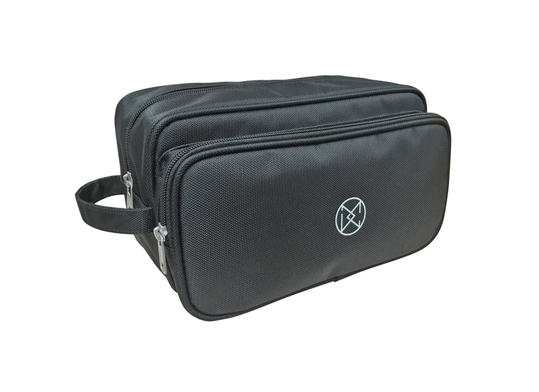 Large two compartment men toiletry in black L side