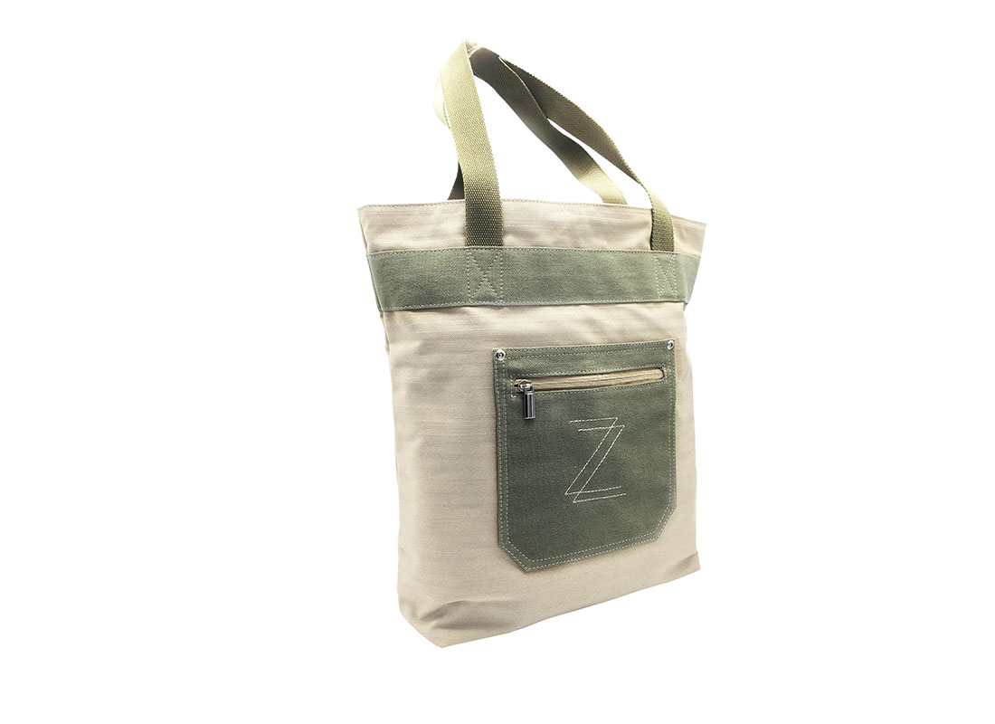 100% Cotton Tote with small front pocket side