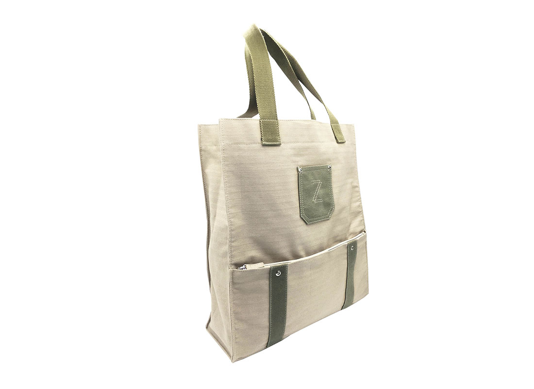 100% Cotton Tote with Front Zipper pocket Side
