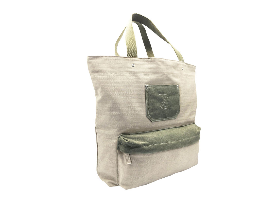 100% Cotton Tote bag with front pocket L side