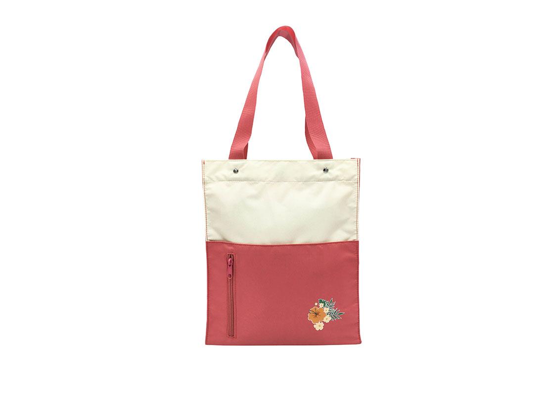 Girls Tote Bag in Pink & Beige