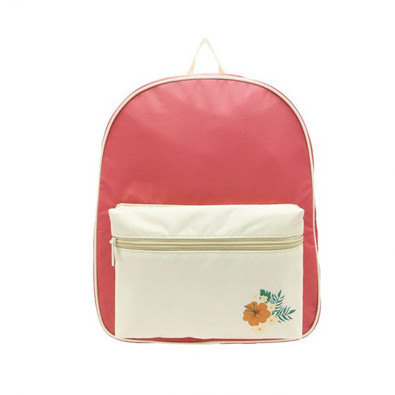 Girl Backpack in pink & beige with a large zipper front pocket