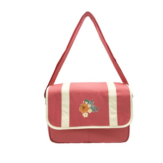 Shoulder bag with flap & a Hawaii flower print