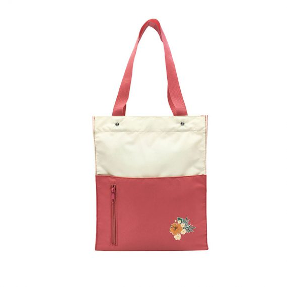 Girls Tote Bag in Pink & Beige