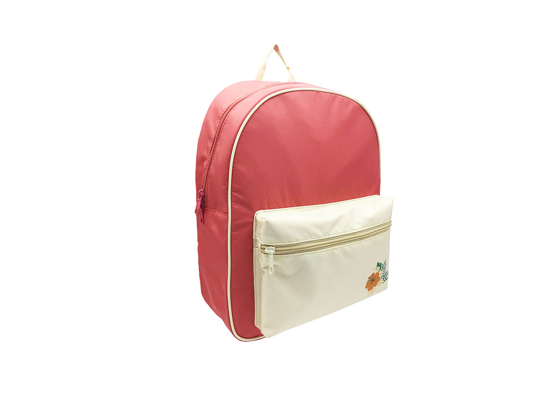 Girl Backpack in pink & beige with a large zipper fron pocket L side
