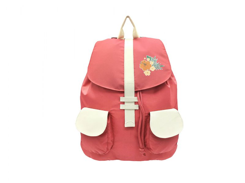 Girl Backpack in Pink & Beige with flap