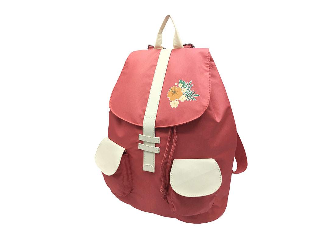Girl Backpack in pink & beige with flap R side