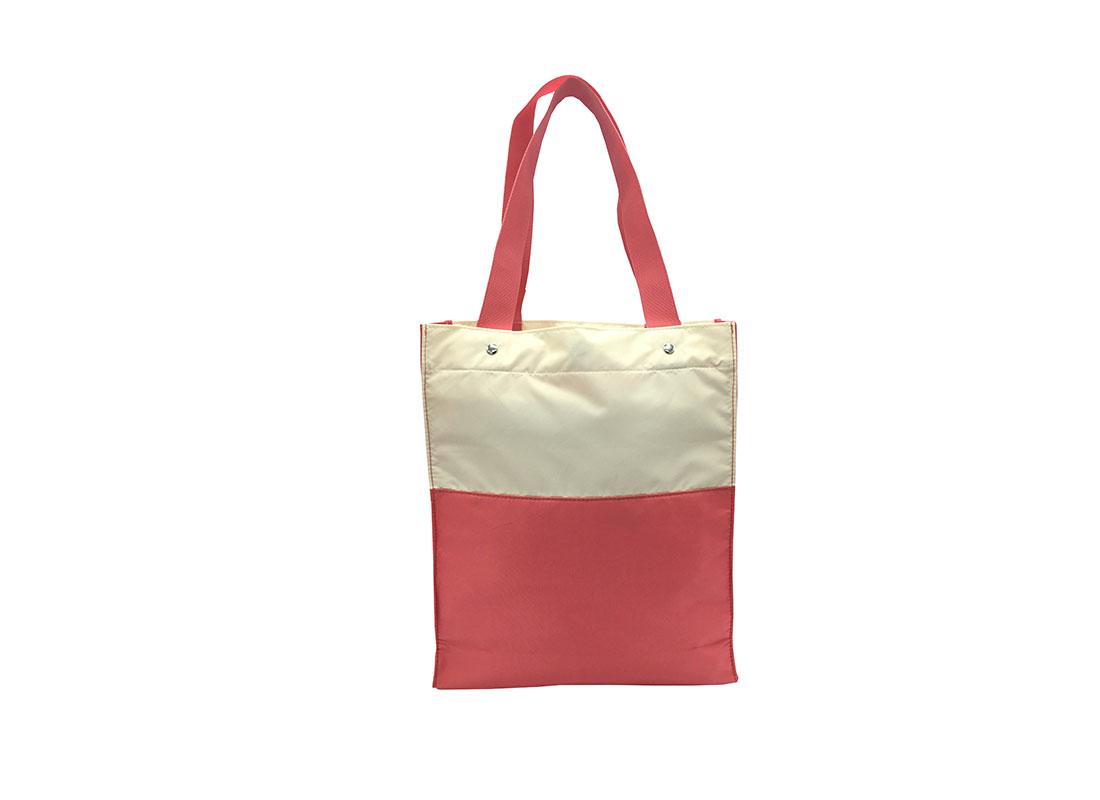 Girls Tote Bag in Pink & Beige Back