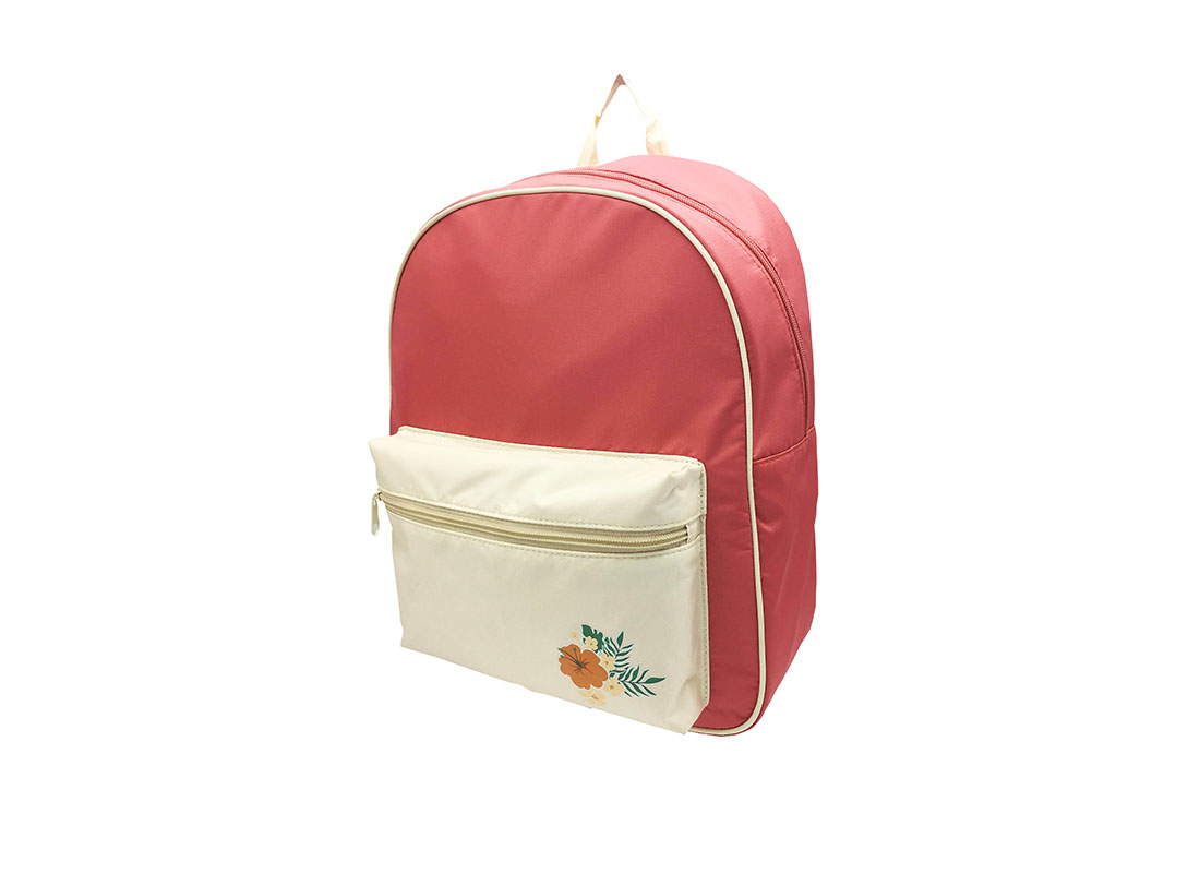 Girl Backpack in pink & beige with a large front zipper pocket R side
