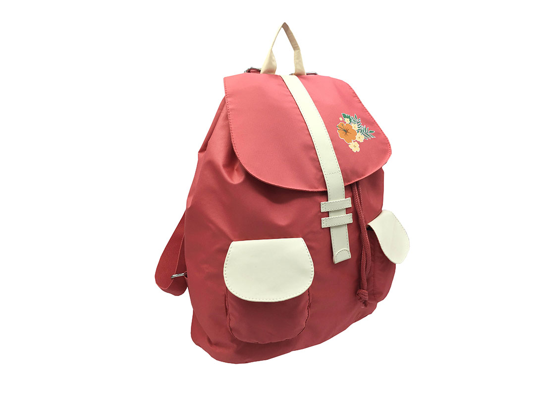 Girl Backpack in Pink & Beige with flap L side
