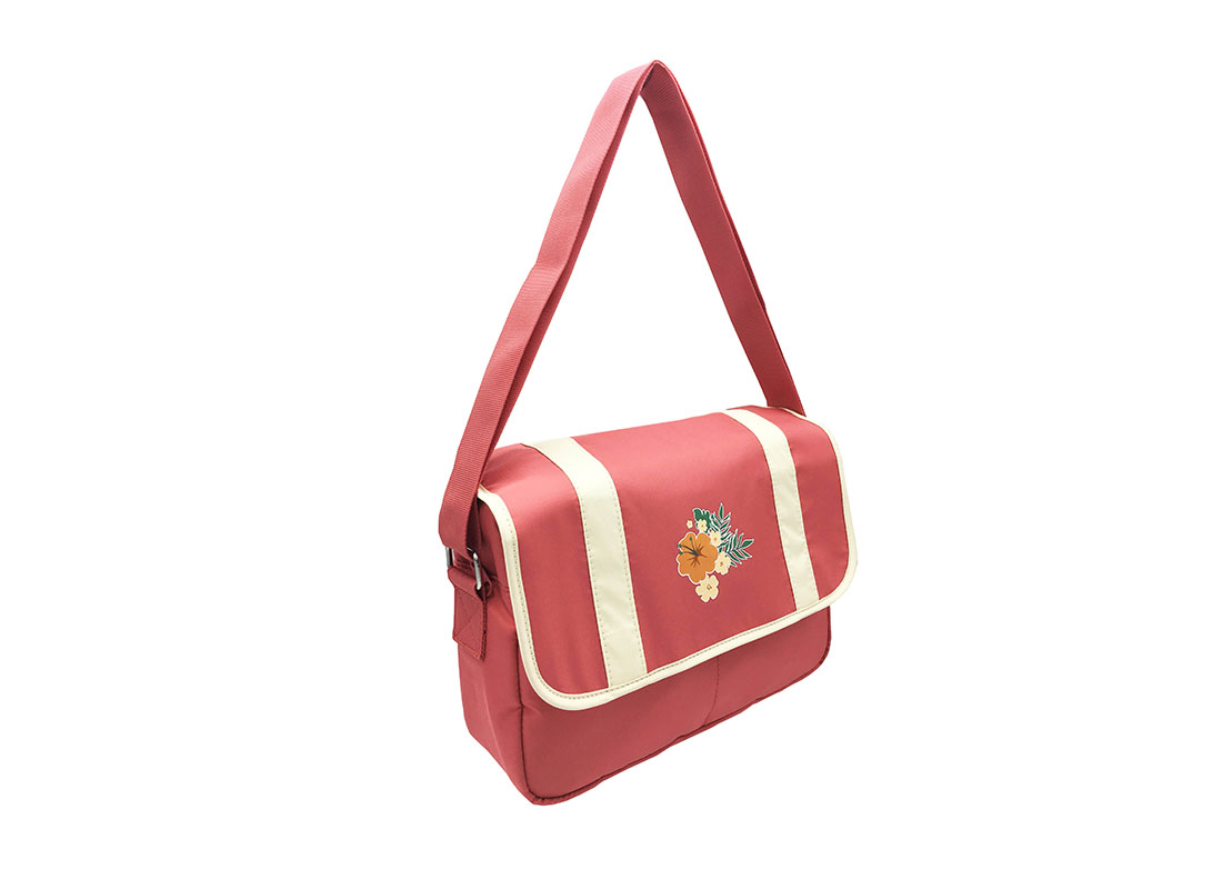 Shoulder Bag with flap & a Hawaii flower print L side
