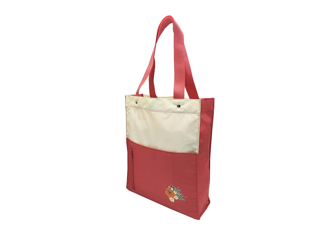 Girls Tote Bag in pink & beige R side