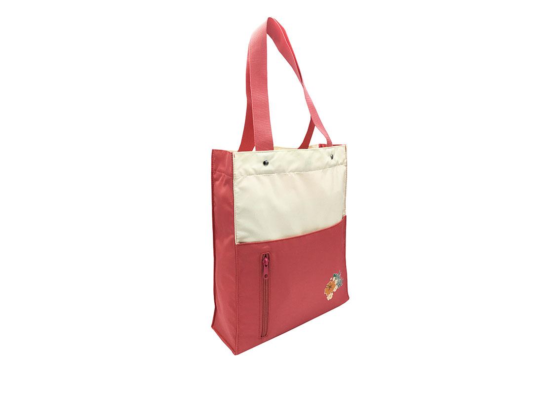 Girls Tote Bag in pink & beige L side