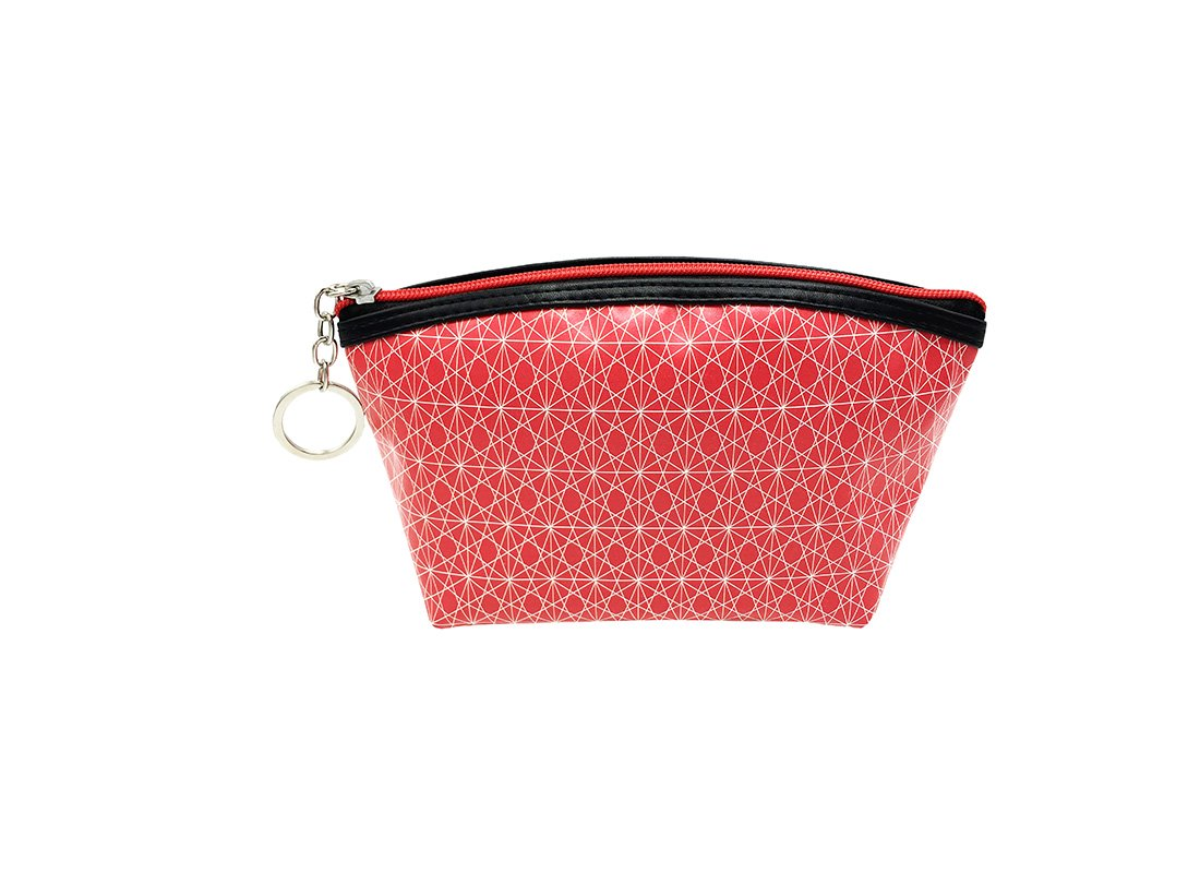 small pouch in pink with monogram printing