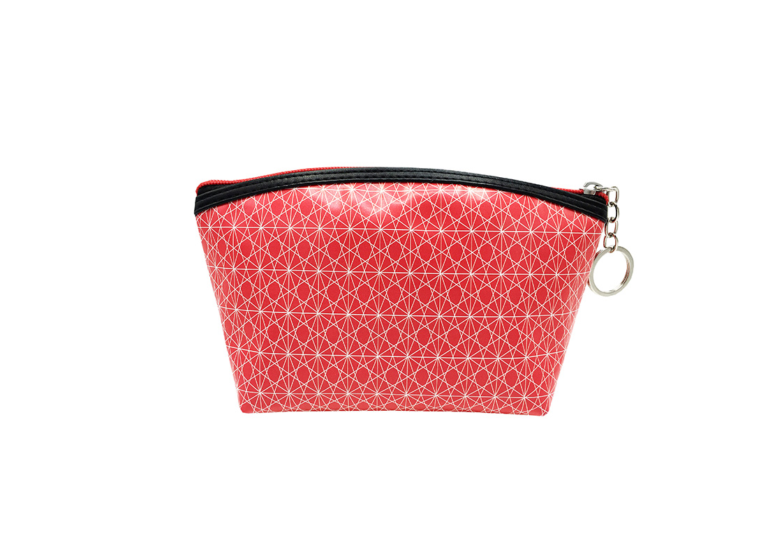 small pouch in pink with monogram printing back