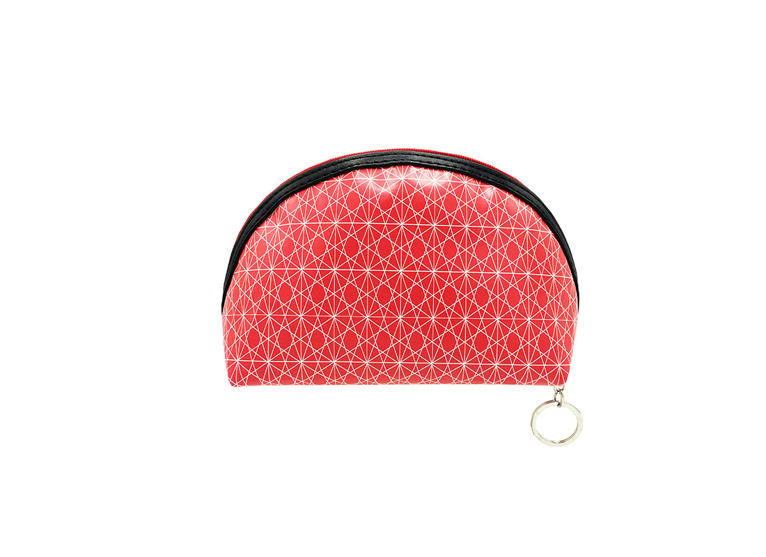 Small cosmetic pouch in pink with monogram printing