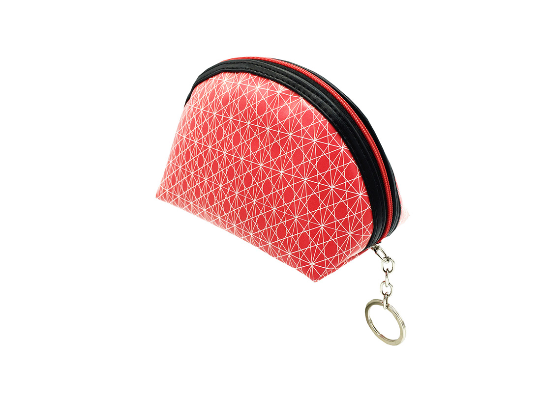 small cosmetic pouch in pink with monogram printing side