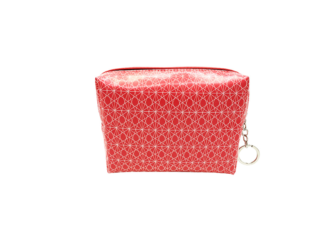 cosmetic bag in pink with monogram printing back