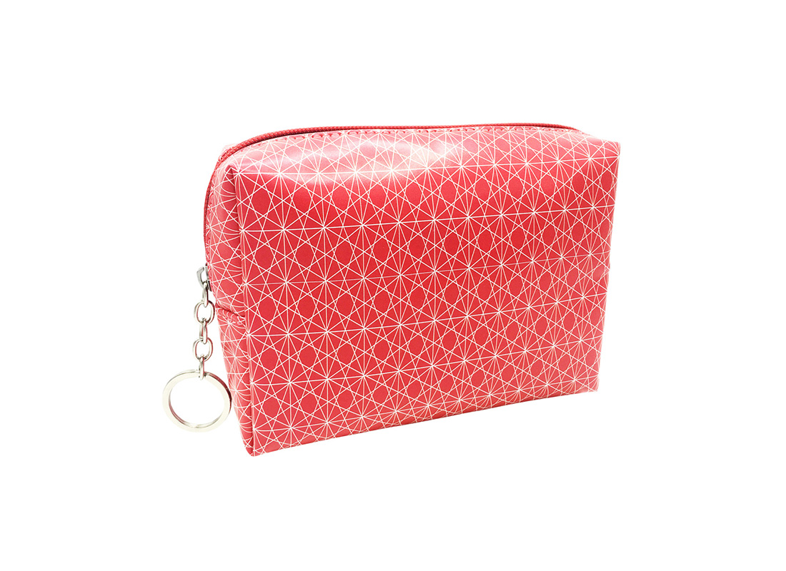 cosmetic bag in pink with monogram printing L side