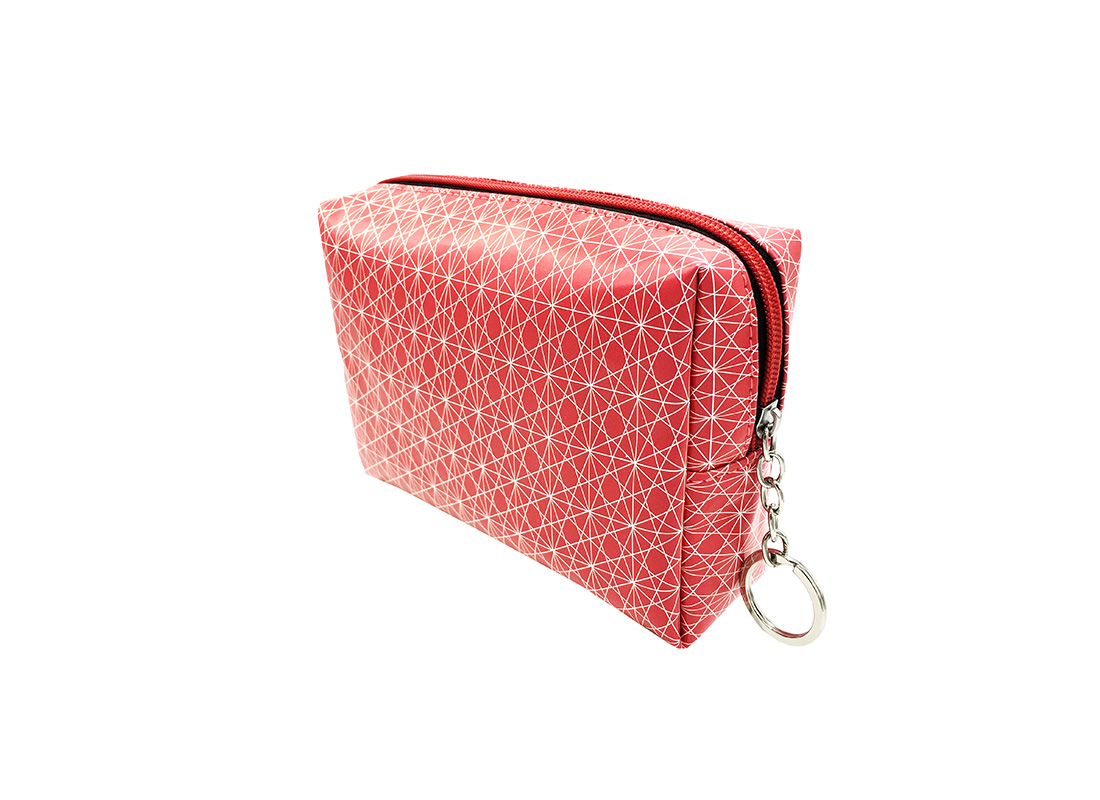 cosmetic bag in pink with monogram printing R side
