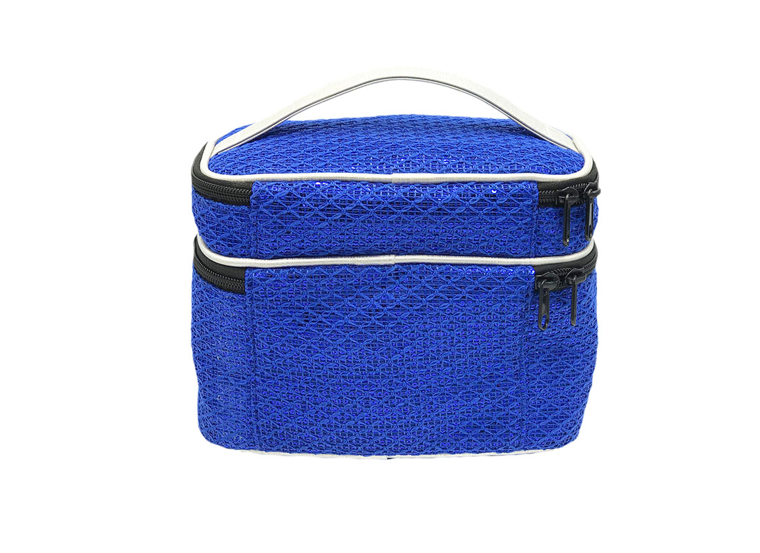 Two compartment sequin cosmetic bag in blue back