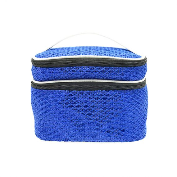 Two Compartment Sequin Cosmetic Bag in blue