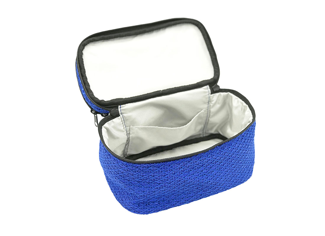 Two compartment Sequin cosmetic bag second compartment