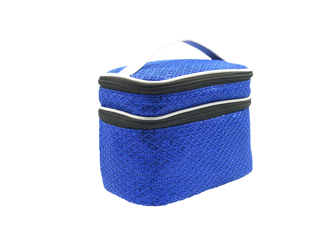 Two compartment Sequin Cosmetic bag in Blue L side