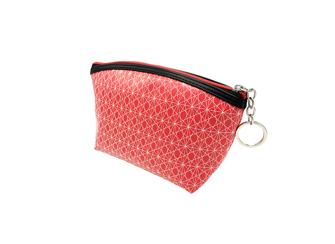 small pouch in pink with monogram printing side