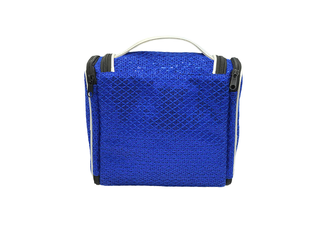 Large Sequin Cosmetic Bag in Blue Back