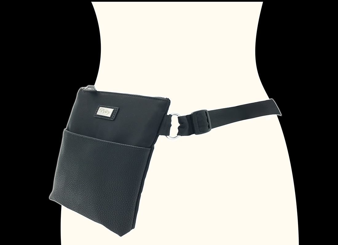 Large Waist Bag in Black for women model