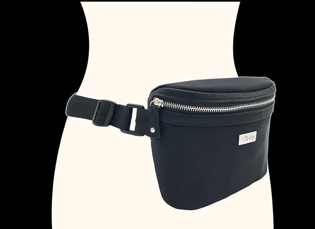 Women Large Waist Bag in Black model