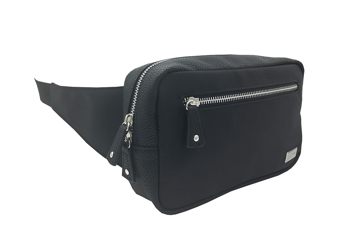rectangle women waist bag in black side
