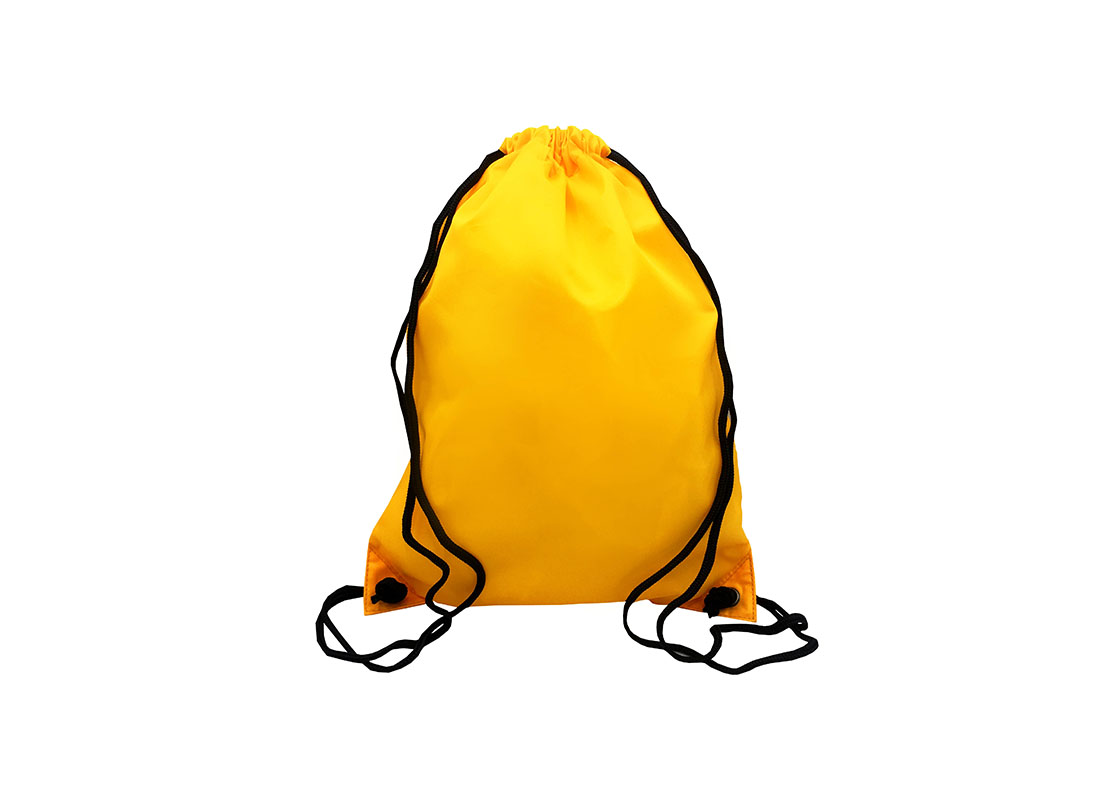 Drawstring bag with back zipper pocket in yellow orange